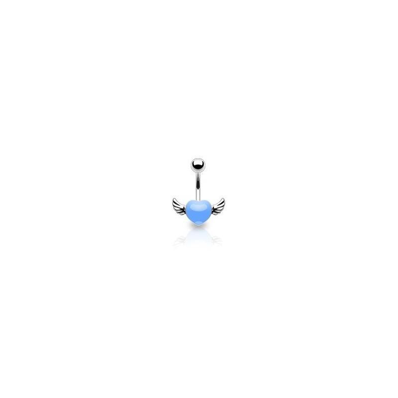 Piercing nombril coeur tattoo bleu avec ailes pour femme