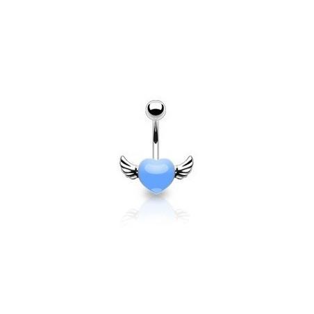 Piercing nombril coeur tattoo bleu avec ailes