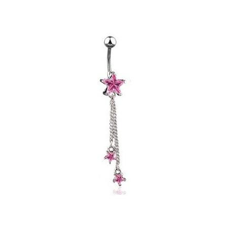 Piercing nombril pendentif étoile rose longue chaine