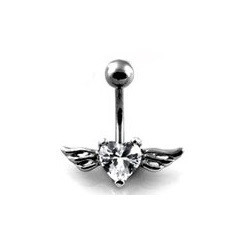Piercing nombril Coeur Tattoo cristal blanc Ailes