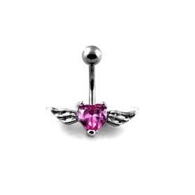 Piercing nombril Coeur Tattoo cristal rose avec Ailes