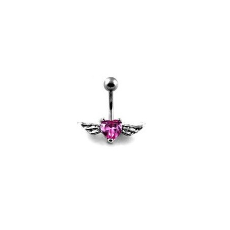 Piercing nombril Coeur Tattoo cristal rose Ailes