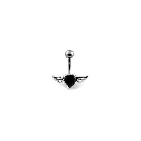 Piercing nombril Coeur Tattoo cristal noir Ailes