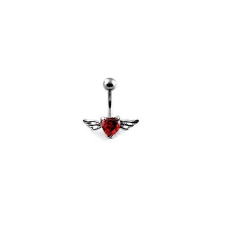 Piercing nombril Coeur Tattoo cristal rouge Ailes