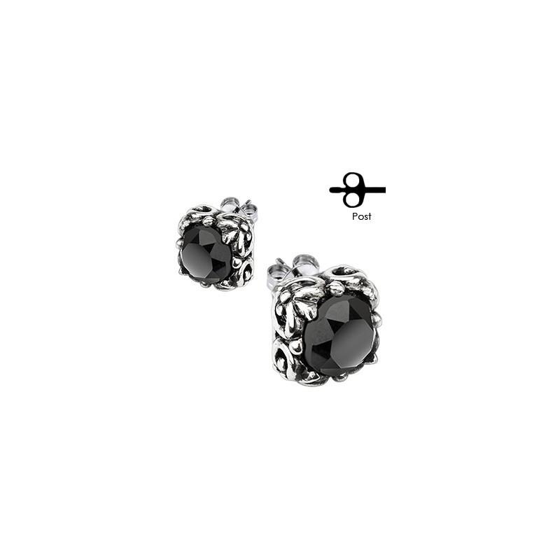 Boucle d'oreille pour homme pierre onyx noir et acier tribal