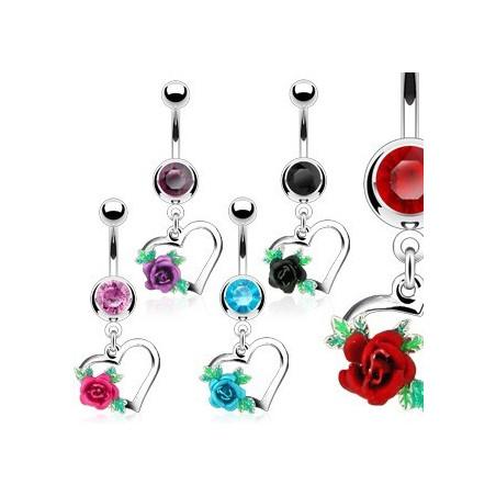 Piercing nombril pendentif coeur et fleur
