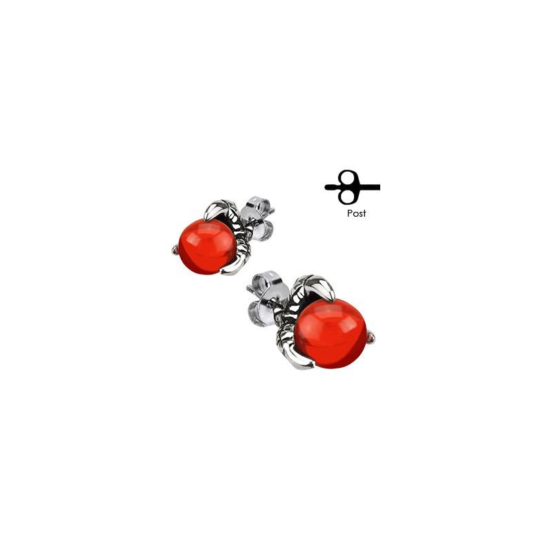Boucle d'oreille griffe dragon pierre rouge pour homme
