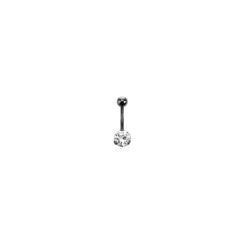 Piercing nombril black line cristal blanc 3 grif de qualité en acier noir