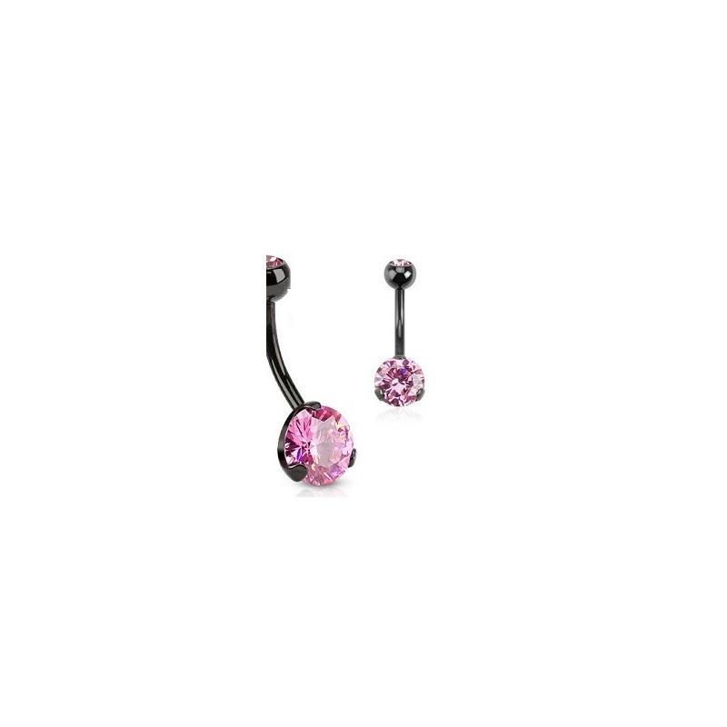 Piercing nombril black line cristal rose 3 grif de qualité en acier noir