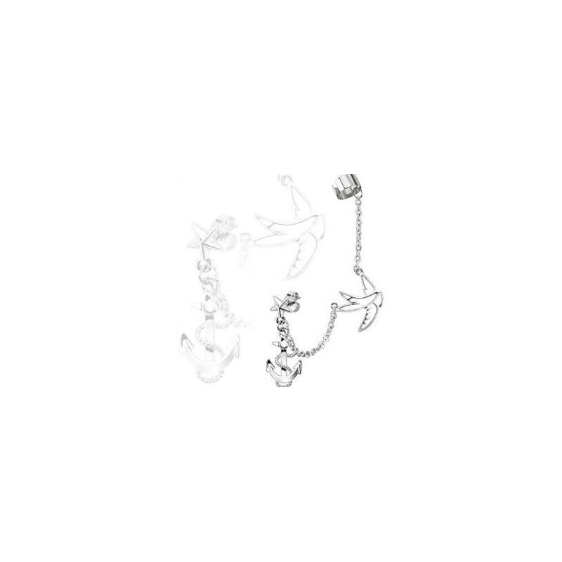 Boucle d'oreille ancre marine hirondelle