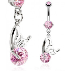 Piercing nombril papillon 1.2mm cristal rose