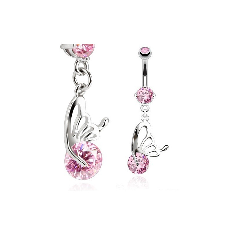 Piercing nombril papillon acier chirurgical 1.2mm cristal rose