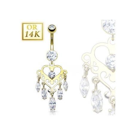 Piercing nombril Or jaune 14 carats Chandelier