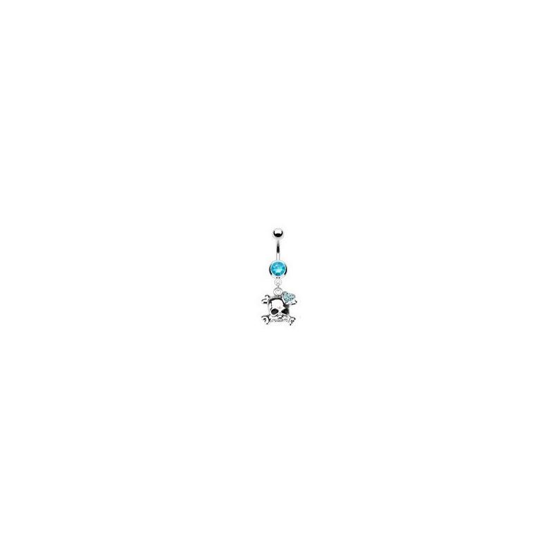 Piercing nombril acier chirurgical pendentif tête de mort strass bleu turquoise