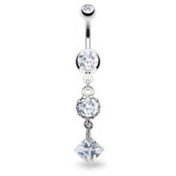 Piercing nombril vintage pendentif cristal blanc