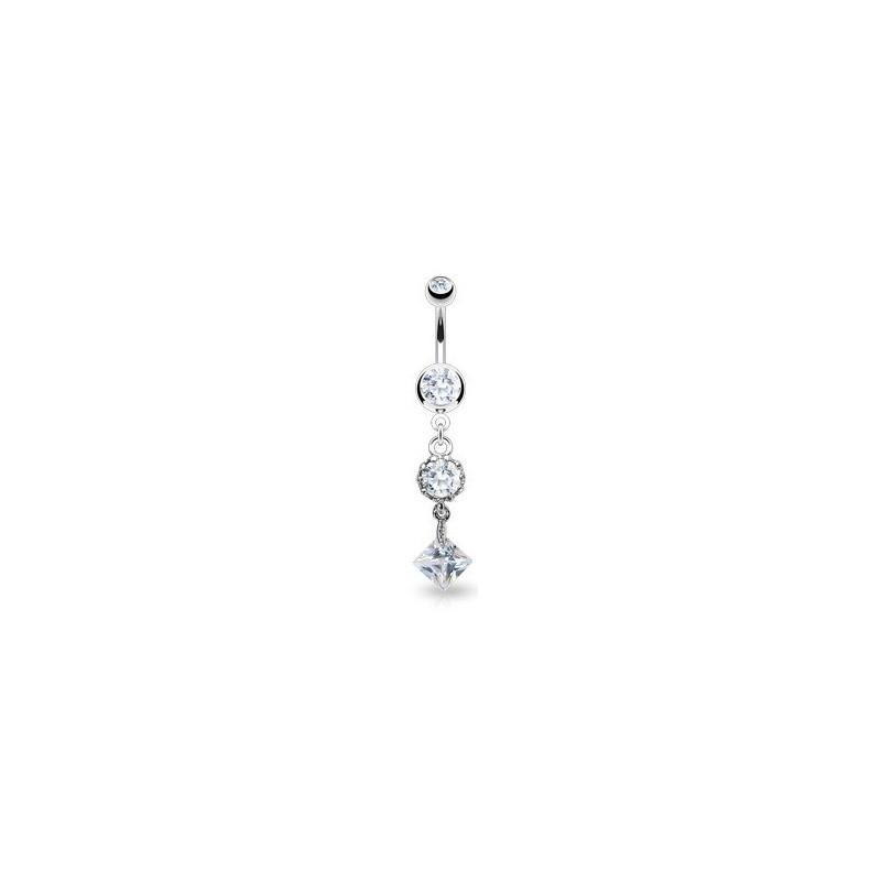 Piercing nombril acier chirurgical vintage pendentif cristal blanc