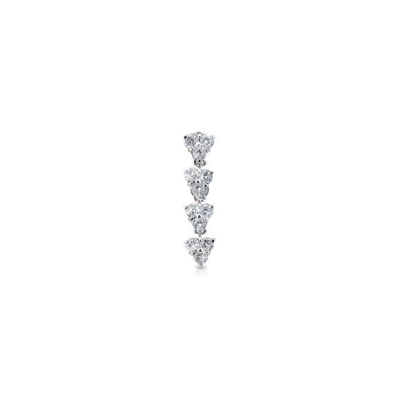 Piercing nombril inversé en titane motif 4 fleur pendante en cristal blanc