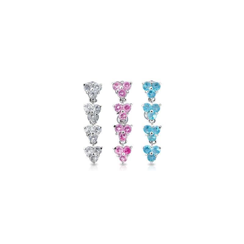 Piercing nombril inversé en titane motif 4 fleur pendante en cristal blanc pour femme