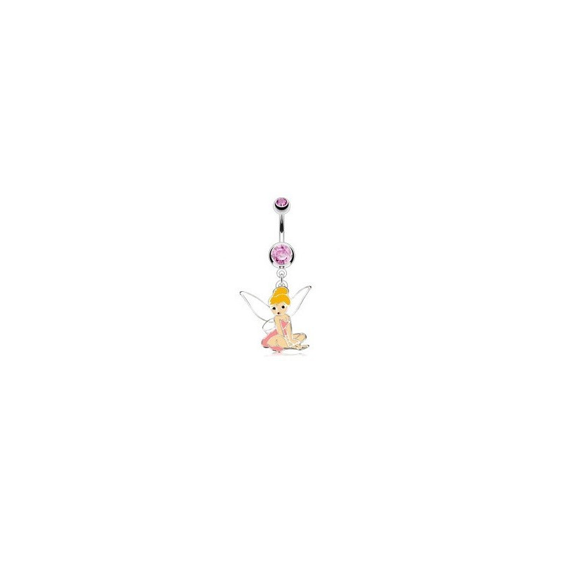 piercing nombril barre en acier chirurgical pendentif fée clochete cristal rose