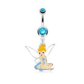 piercing nombril barre en acier chirurgical pendentif fée clochete cristal bleu
