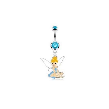 piercing nombril fée clochette cristal bleu