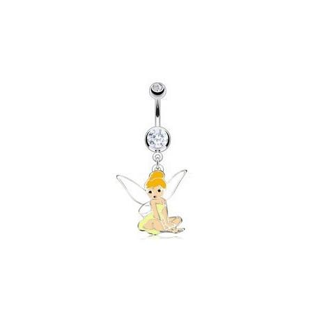 piercing nombril fée clochette cristal Blanc