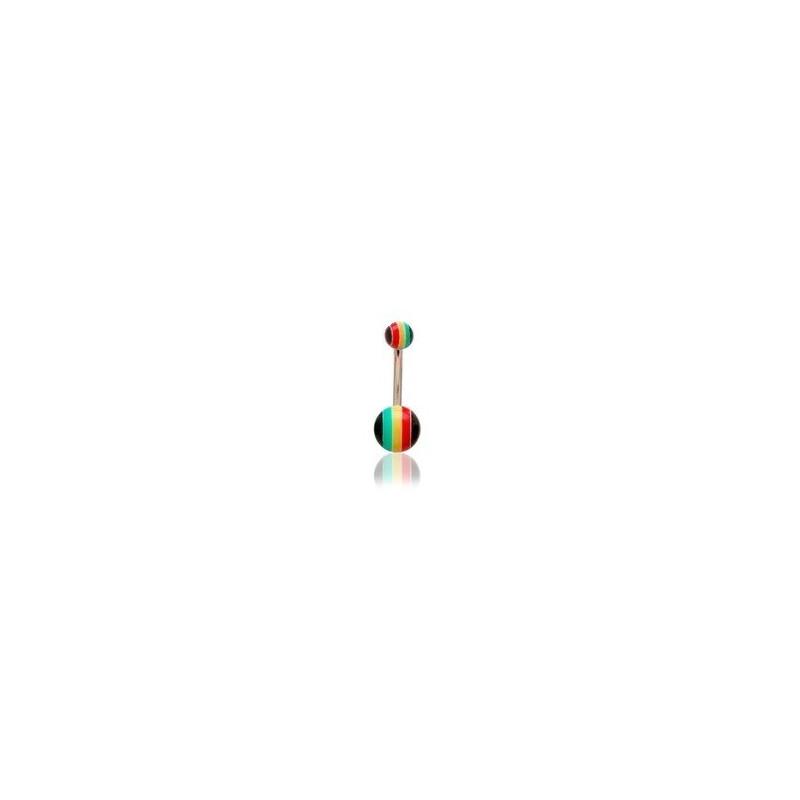 Piercing nombril bille Rasta acrylique vert jaune rouge jamaique bob Marley pas cher