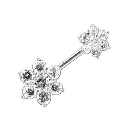 PIercing nombril argent fleur jumelle cristal blanc