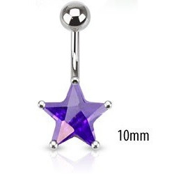 Piercing nombril étoile violet 10 mm