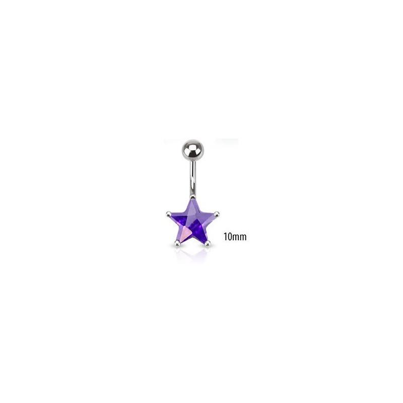 Piercing nombril acier chirurgical motif étoile cristal 10mm couleur violet