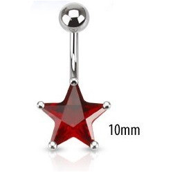 Piercing nombril étoile rouge10mm