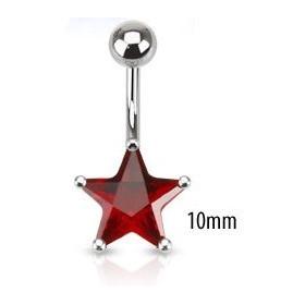Piercing nombril acier chirurgical motif étoile cristal 10mm couleur rouge