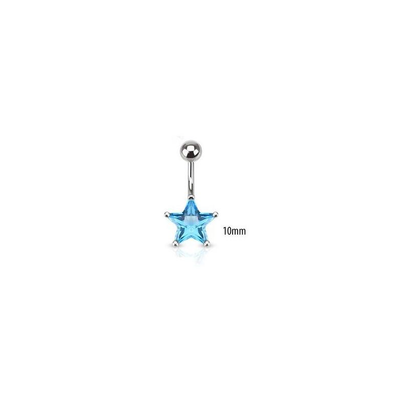 Piercing nombril acier chirurgical motif étoile cristal 10mm couleur bleu turquoise
