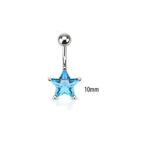 Piercing nombril étoile turquoise 10mm