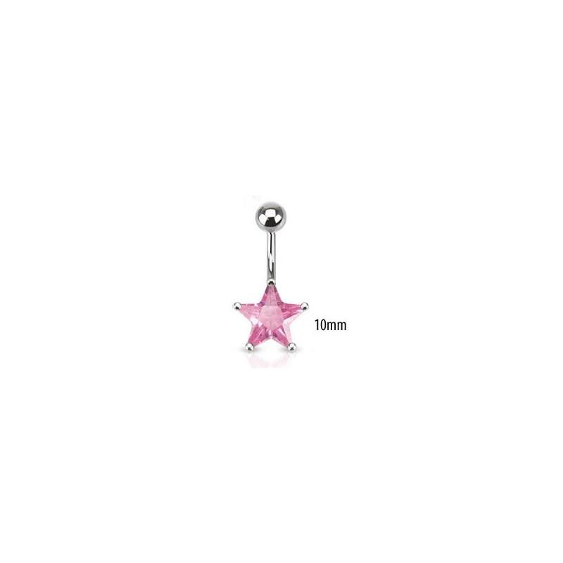 Piercing nombril acier chirurgical motif étoile cristal 10mm couleur rose