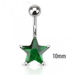 Piercing nombril étoile 10mm Vert