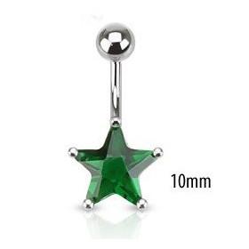 Piercing nombril acier chirurgical motif étoile cristal 10mm couleur  Vert