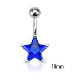 Piercing nombril acier chirurgical motif étoile cristal 10mm couleur bleu