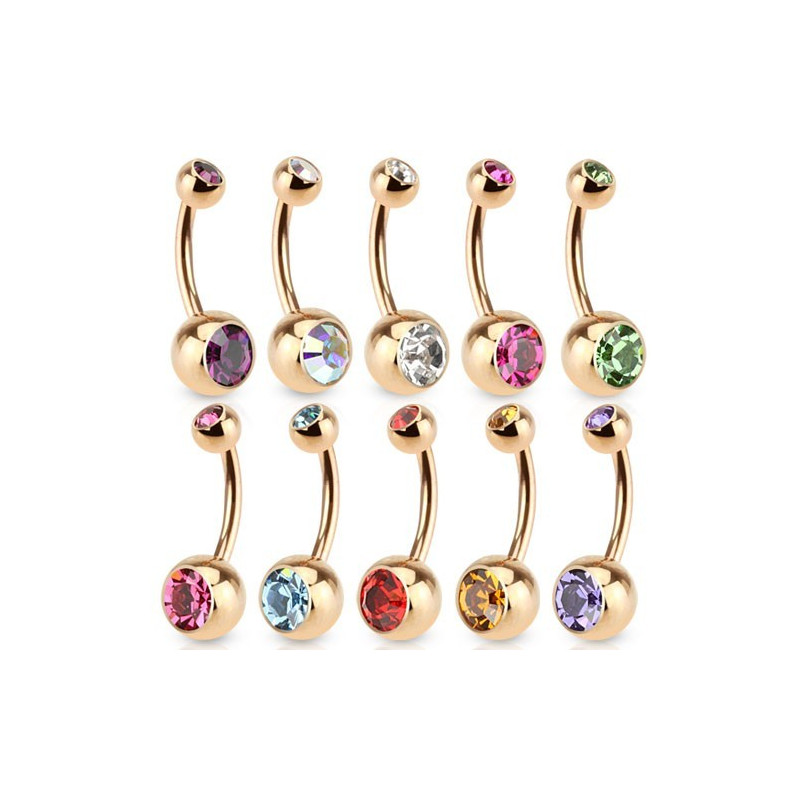 Piercing nombril doré Acier chirurgical anodisé couleur or rose cristal blanc
