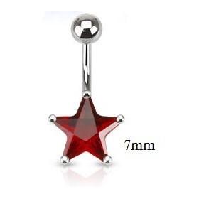 Piercing nombril acier chirurgical motif étoile cristal 7 mm couleur rouge
