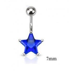 Piercing nombril acier chirurgical motif étoile cristal 7 mm couleur bleu