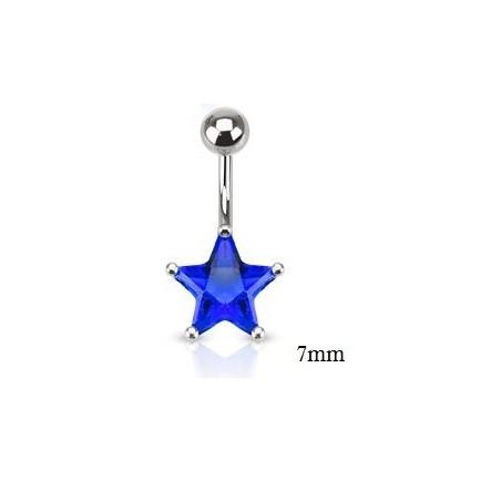 Piercing nombril étoile 7mm bleu