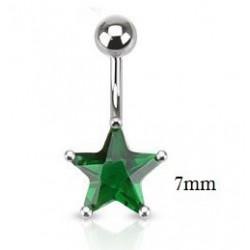 Piercing nombril étoile 7mm vert