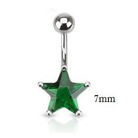 Piercing nombril acier chirurgical motif étoile cristal 7 mm couleur vert