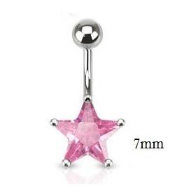 Piercing nombril acier chirurgical motif étoile cristal 7 mm couleur rose