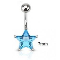 Piercing nombril étoile 7mm turquoise