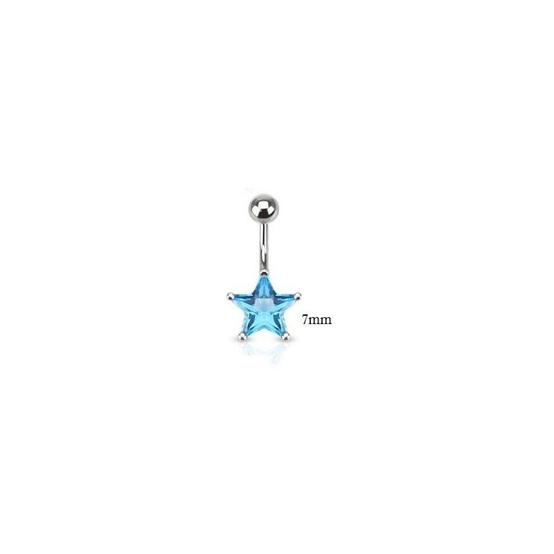 Piercing nombril étoile acier chirurgical motif étoile cristal 7 mm couleur bleu turquoise