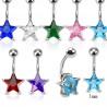 Piercing nombril acier chirurgical motif étoile cristal 7 mm couleur bleu turquoise pas cher