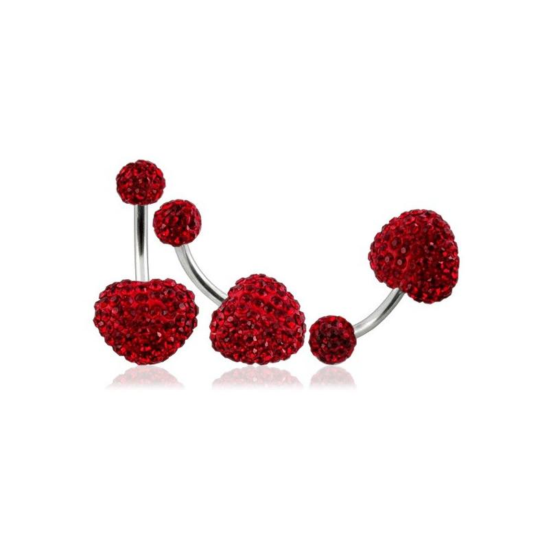 Piercing nombril barre titane motif coeur en cristal rouge recouvert de résine