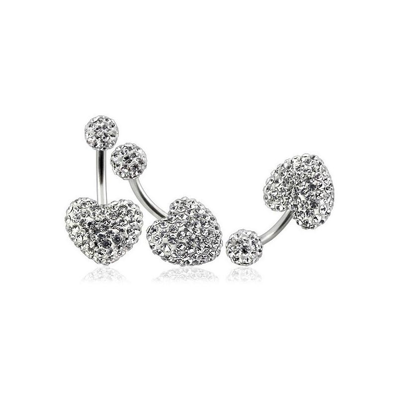 Piercing nombril barre titane motif coeur en cristal blanc recouvert de résine